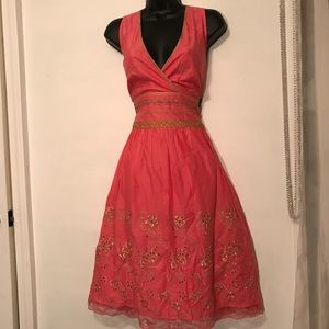 Sz 6 Express Pink & Gold A-Line 50's Style Dress